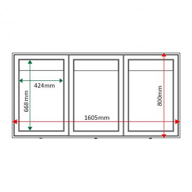 External & internal dimensions of AXTA2 Aluminium Noticeboard