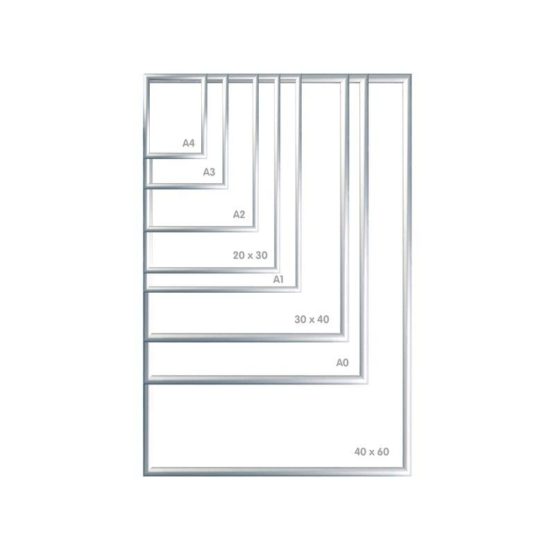 Tamper Proof Securuty Aluminium Snap Frames Silver Anodised