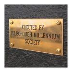 Engraved brass dedication plate shown applied to an Apogee, heavy-duty, recycled plastic noticeboard