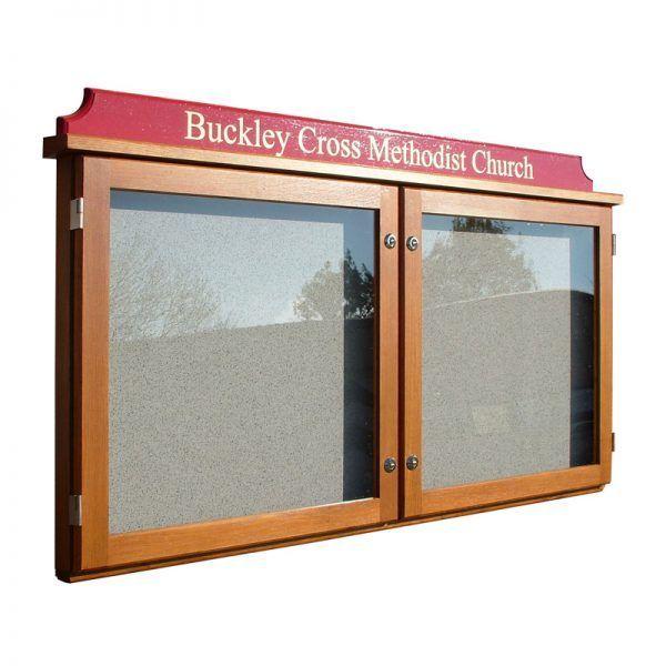 2-bay, 6 x A4 oak noticeboard with coloured header, Buckley Cross Methodist Church