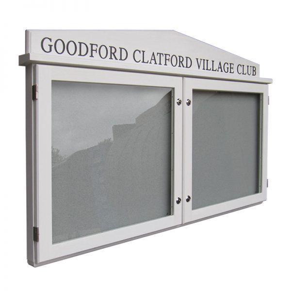 2-bay, 6 x A4 oak noticeboard with gable header, Goodworth Clatford Village Club