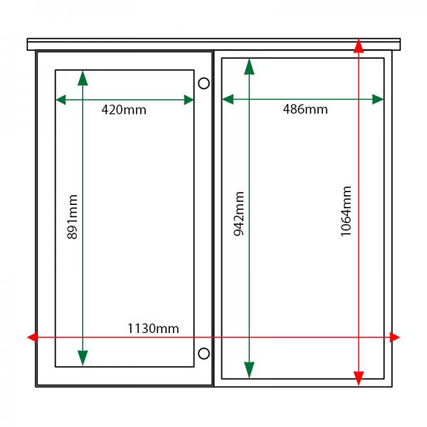 External & internal dimensions of 2-bay, 6 x A4 oak noticeboard, 1 bay glazed