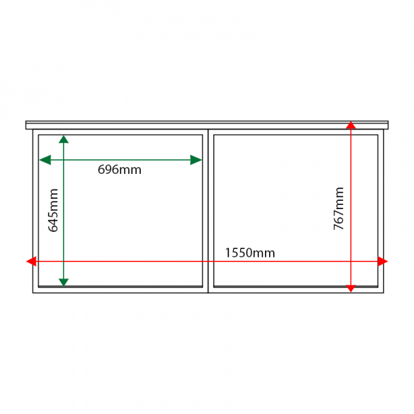 External & internal dimensions of 2-bay, 6 x A4 oak noticeboard, unglazed