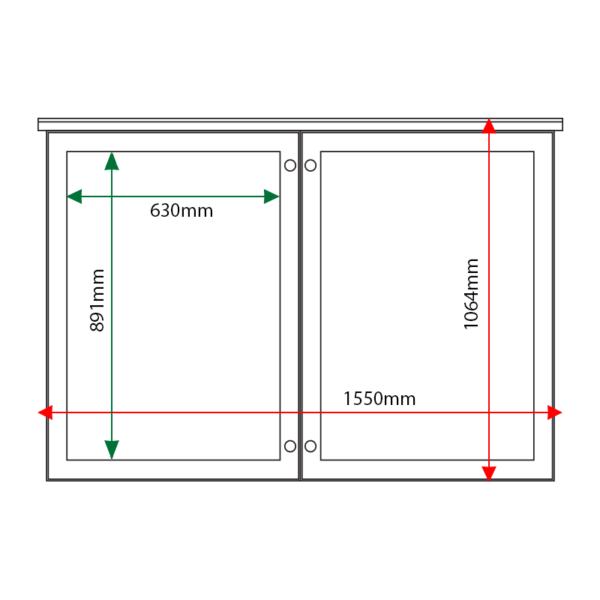 External & internal dimensions of 2-bay, 9 x A4 oak noticeboard