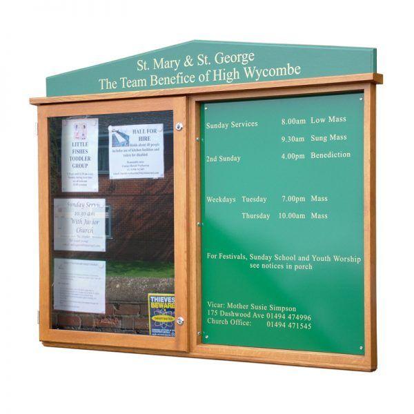 2-bay, 9 x A4 oak noticeboard, 1 bay glazed