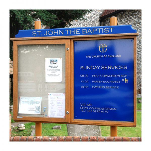 2-bay, 9 x A4 oak noticeboard, 1 bay glazed with sign panel and coloured header, St John the Baptist Church, Purbrook