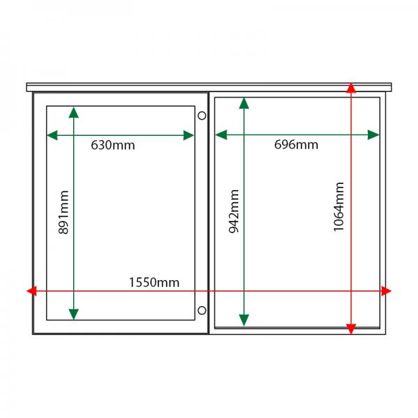 External & internal dimensions of 2-bay, 9 x A4 oak noticeboard, 1 bay glazed