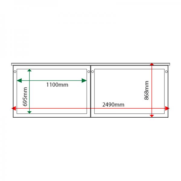 External & internal dimensions of 2-bay, 10 x A4 oak noticeboard