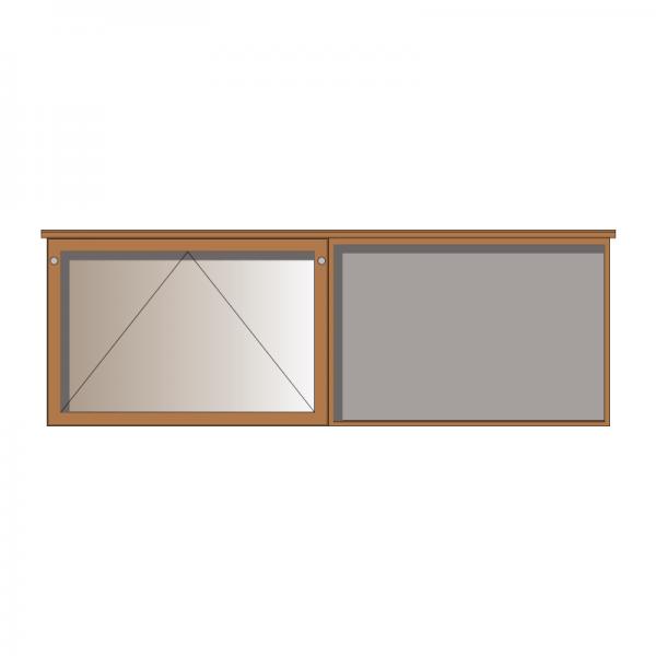 2-bay, 10 x A4 oak noticeboard, 1 bay glazed