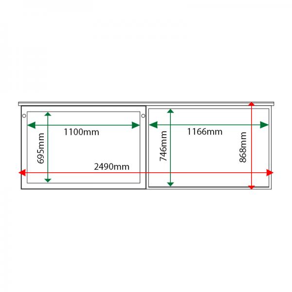 External & internal dimensions of 2-bay, 10 x A4 oak noticeboard, 1 bay glazed