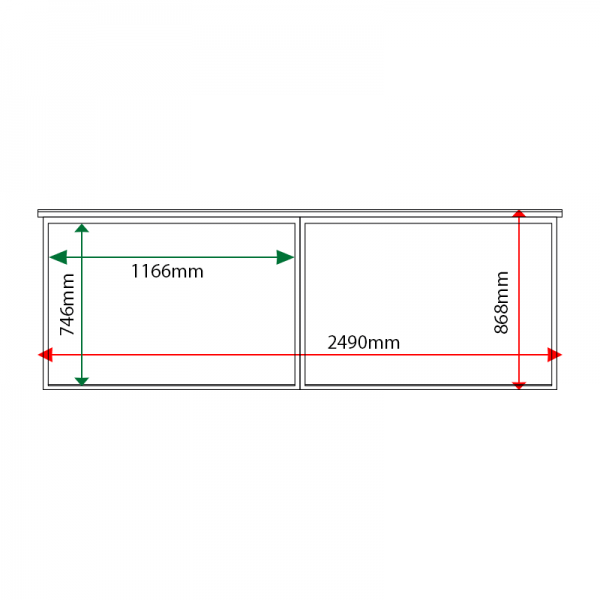 External & internal dimensions of 2-bay, 10 x A4 oak noticeboard, unglazed