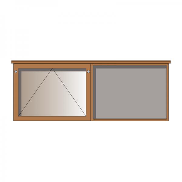 2-bay, 8 x A4 oak noticeboard, 1 bay glazed