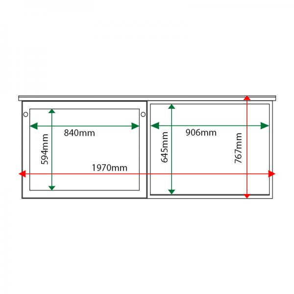External & internal dimensions of 2-bay, 8 x A4 oak noticeboard, 1 bay glazed