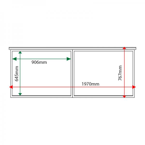External & internal dimensions of 2-bay, 8 x A4 oak noticeboard, unglazed