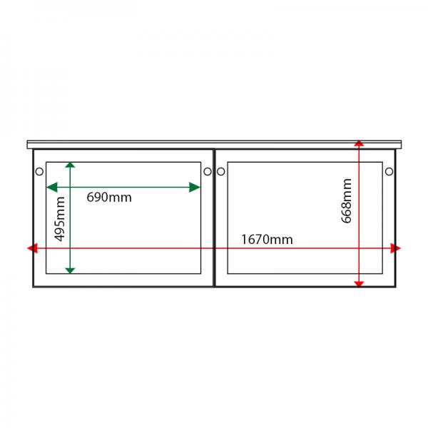 External & internal dimensions of 2-bay, 3 x A4 oak noticeboard