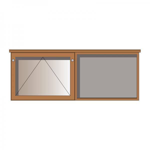 2-bay, 3 x A4 oak noticeboard, 1 bay glazed