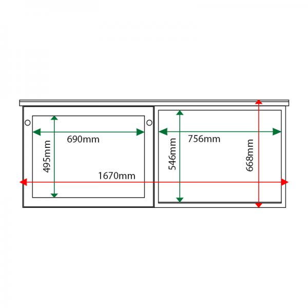 External & internal dimensions of 2-bay, 3 x A4 oak noticeboard, 1 bay glazed