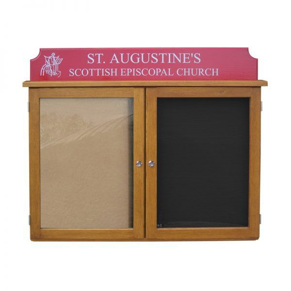 2-bay, 4 x A4 oak noticeboard with ribbed letterboard in one bay, St Augustine's Scottish Epicopal Church