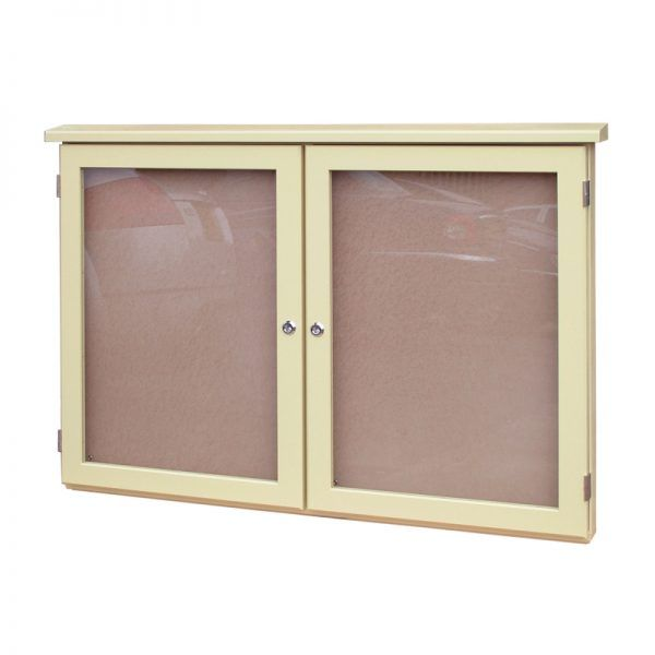2-bay, 4 x A4 oak noticeboard with opaque ivory woodstain finish