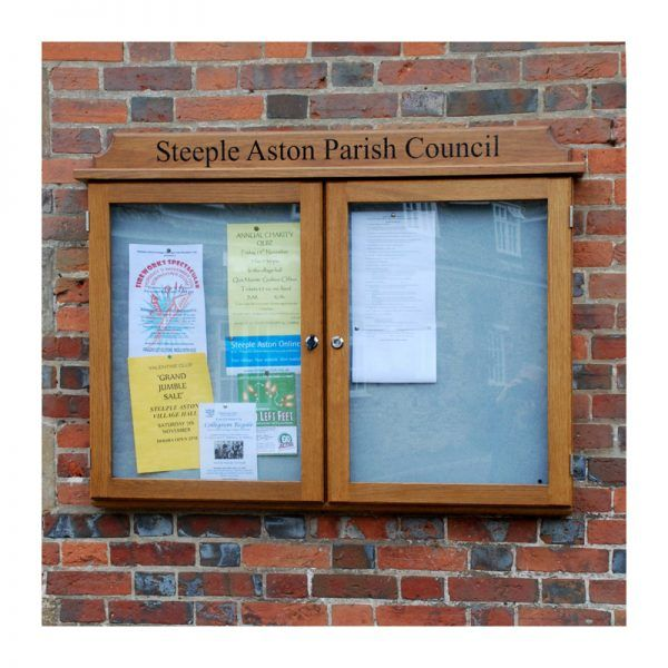 2-bay, 4 x A4 oak noticeboard, wall-mounted, Steeple Aston Parish Council