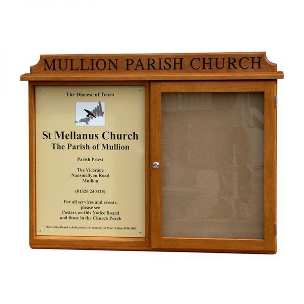 2-bay, 4 x A4 oak noticeboard, 1 bay glazed, with sign panel, St Mellanus Parish Church, Mullion