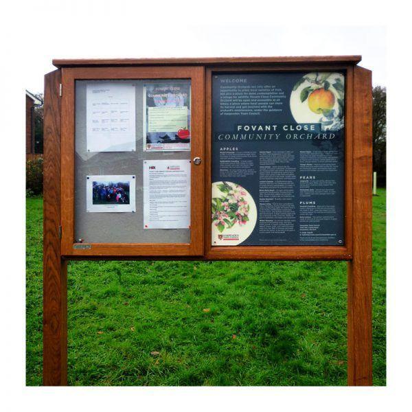 2-bay, 4 x A4 oak noticeboard, 1 bay glazed with encapsulated interrpetation panel, Fovant Community Orchard