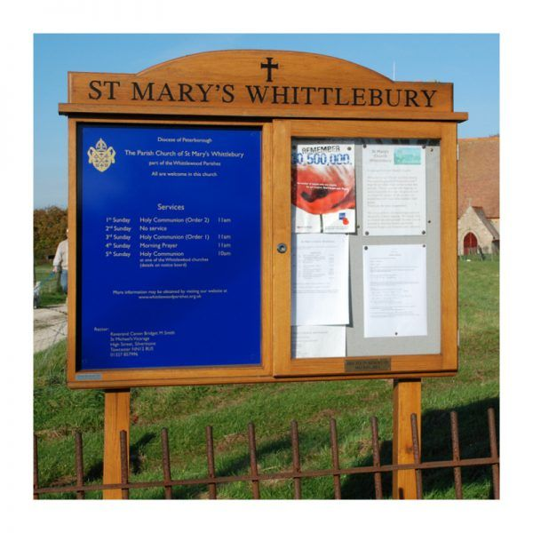 2-bay, 4 x A4 oak noticeboard, 1 bay glazed with radiused header and sign panel, St Mary's Church, Whittlebury