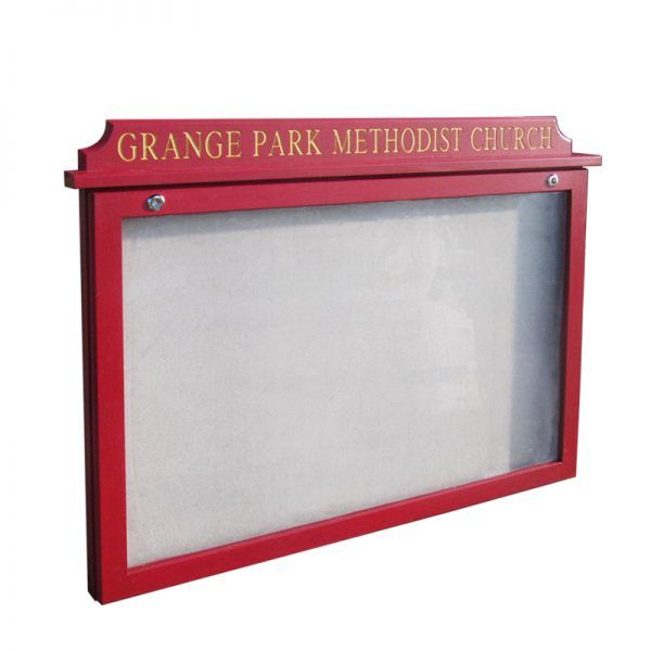 10 x A4 oak noticeboard with Burgundy opaque woodstain for Grange Park Methodist Church, Winchmore Hill