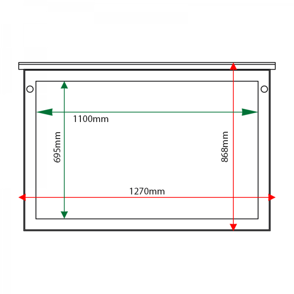 External & internal dimensions of 10 x A4 oak noticeboard