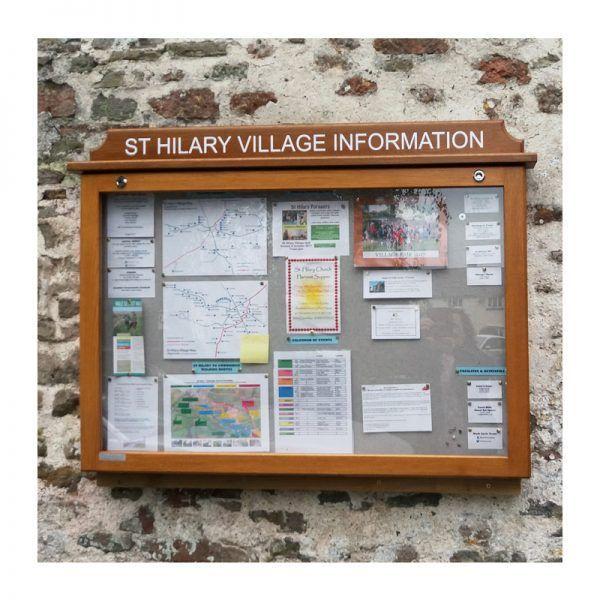 10 x A4 oak noticeboard, wall-mounted, St Hilary Village Information Board