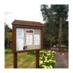 8 x A4 oak noticeboard, post-mounted for Hanbury Memorial Garden, Worcestershire