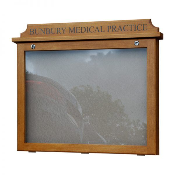 8 x A4 oak noticeboard, wall-mounted for Bunbury Medical Centre