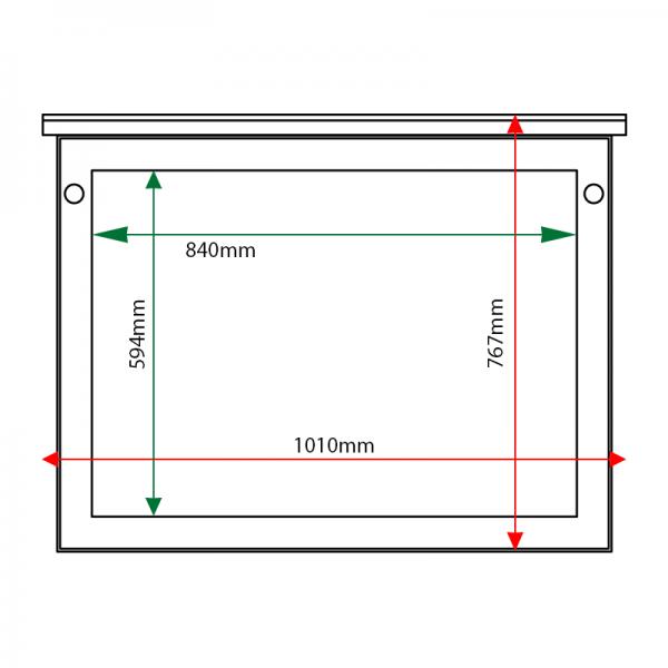 External & internal dimensions of 8 x A4 oak noticeboard