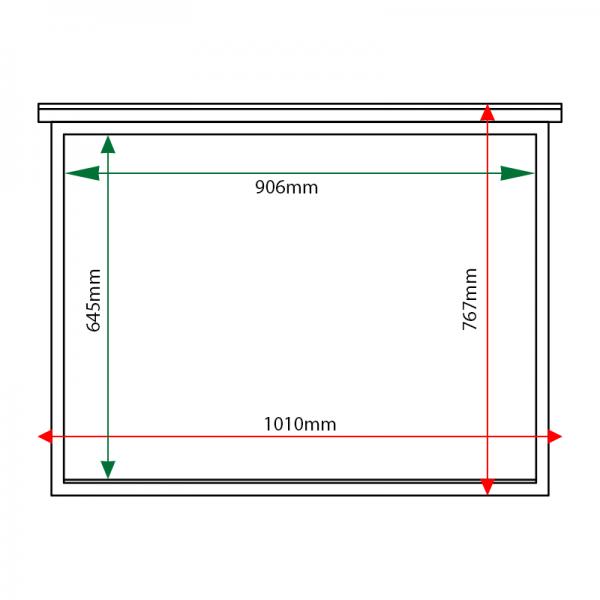 External & internal dimensions of 8 x A4 oak noticeboard, unglazed