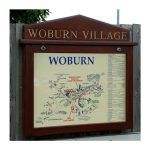 3 x A4 oak noticeboard, wall-mounted with gable header, Woburn Parish Council