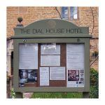 3 x A4 oak noticeboard with radiused header and coloured woodstain finish, Dial House Hotel, Bourton on the Water