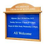 3 x A4 oak noticeboard, unglazed with sign panel and radiused header, Church of Scotland, Helmsdale