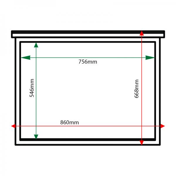 External & internal dimensions of 3 x A4 oak noticeboard, unglazed