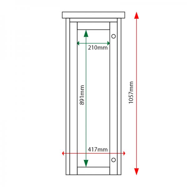External & internal dimensions of 3 x A4 Man-made Timber noticeboard