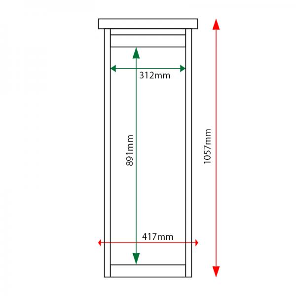 External & internal dimensions of 3 x A4 Man-made Timber noticeboard, unglazed