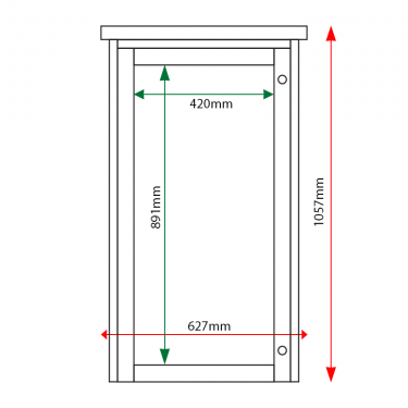 External & internal dimensions of 6 x A4 Man-made Timber noticeboard, portrait format