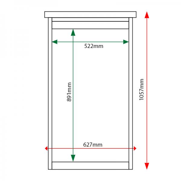 External & internal dimensions of 6 x A4 Man-made Timber noticeboard, portrait format
