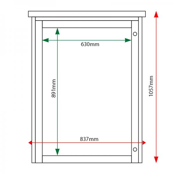 External & internal dimensions of 9 x A4 Man-made Timber noticeboard