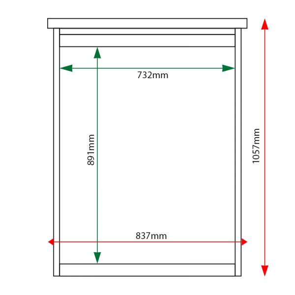 External & internal dimensions of 9 x A4 Man-made Timber noticeboard, unglazed
