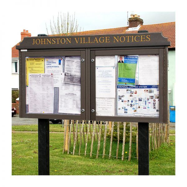 2-bay, 6 x A4 Man-made Timber noticeboard, Johnston Community Council