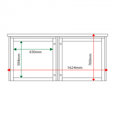 External & internal dimensions of 2-bay, 6 x A4 Man-made Timber noticeboard