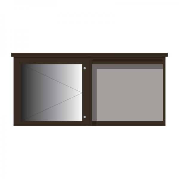 2-bay, 6 x A4 Man-made Timber noticeboard, 1 bay glazed