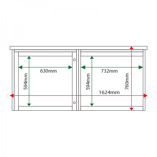 External & internal dimensions of 2-bay, 6 x A4 Man-made Timber noticeboard, 1 bay glazed
