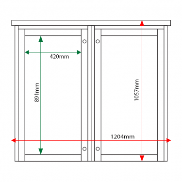 External & internal dimensions of 2-bay, 6 x A4 Man-made Timber noticeboard, portrait format