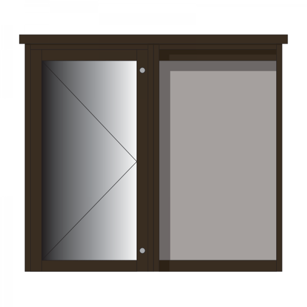 2-bay, 6 x A4 Man-made Timber noticeboard, 1 bay glazed, portrait format